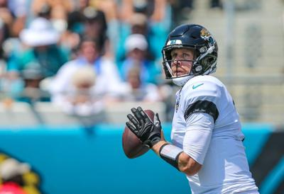 Jacksonville Jaguars quarterback Nick Foles (7) looks for a receiver during his opening drive of an NFL football game against the Kansas City Chiefs at TIAA Bank Field in Jacksonville, Fla., Sunday, Sept. 8, 2019.