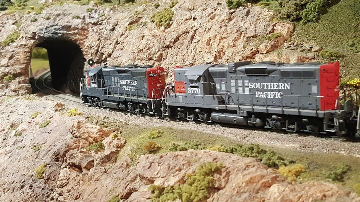Southern Pacific train running on the layout