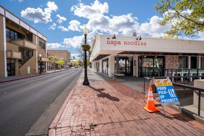 Napa food pickup sign First Street