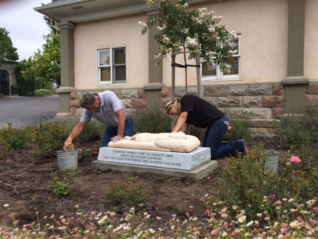 Steve Simich and his daughter Audrey Simich recently installed a grave marker for a Napa County youth at Tulocay Cemetery.
