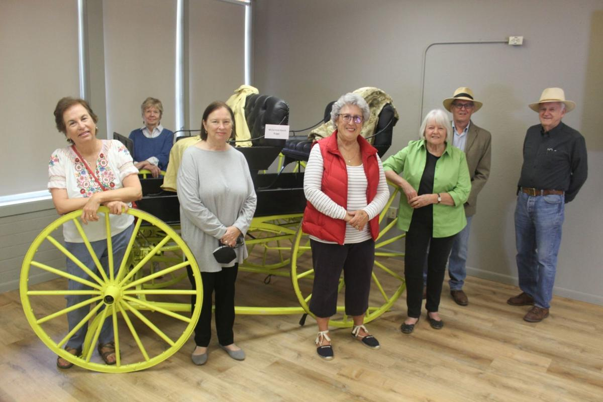 St. Helena Historical Society members with Babe Learned's carriage