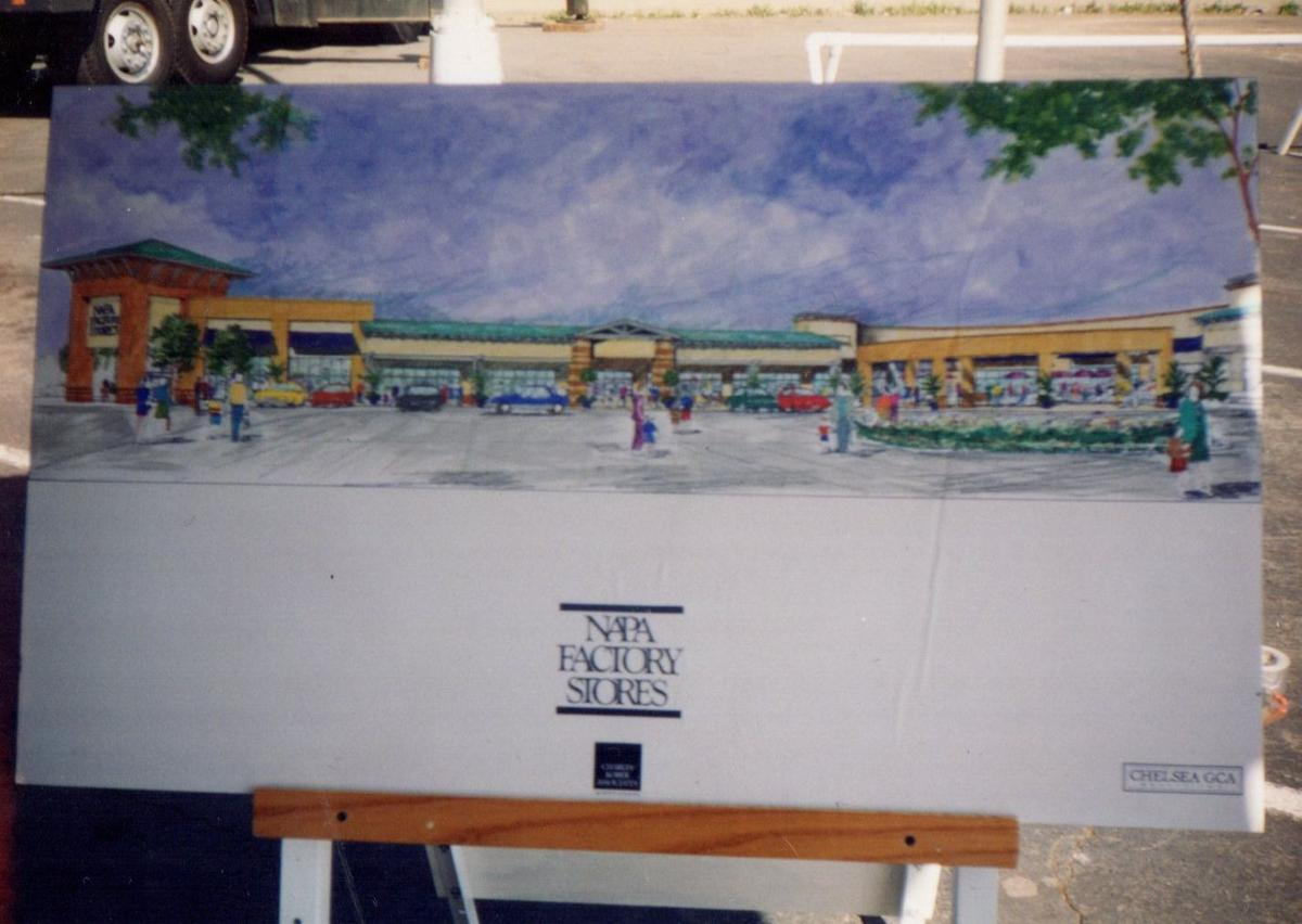 Before the outlets - a drawing of the future outlet mall