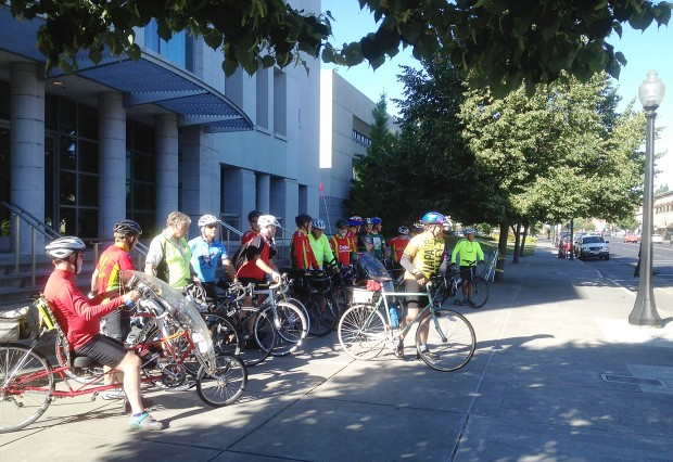 Cyclists show support for fallen friend