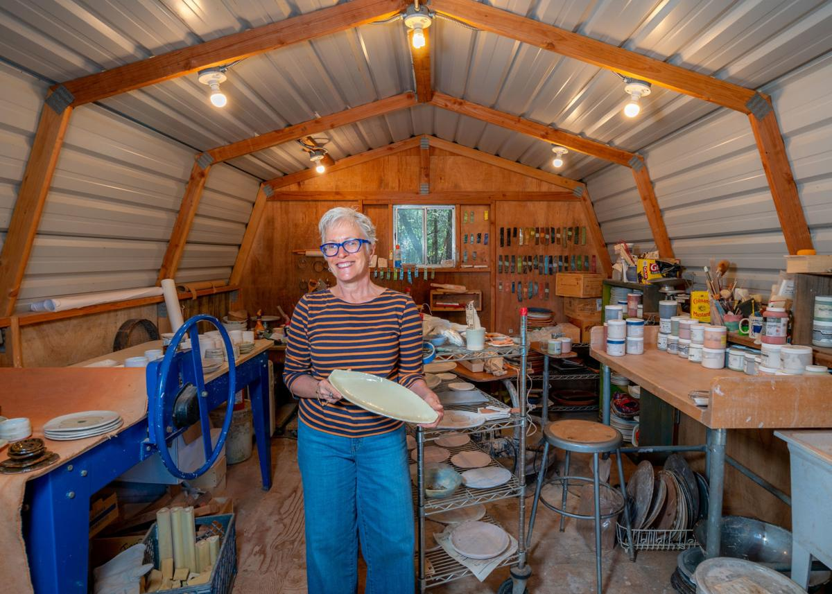 Cindy Pawlcyn in her home ceramic studio