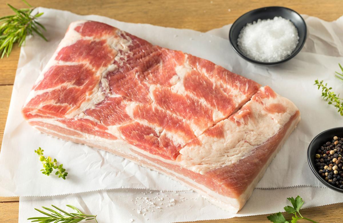 Raw pork belly