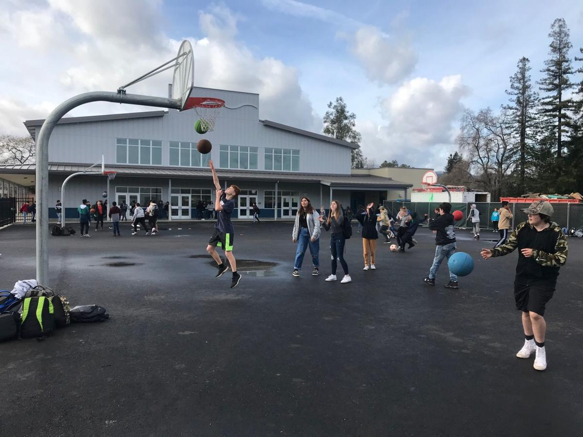 RMS students on basketball court