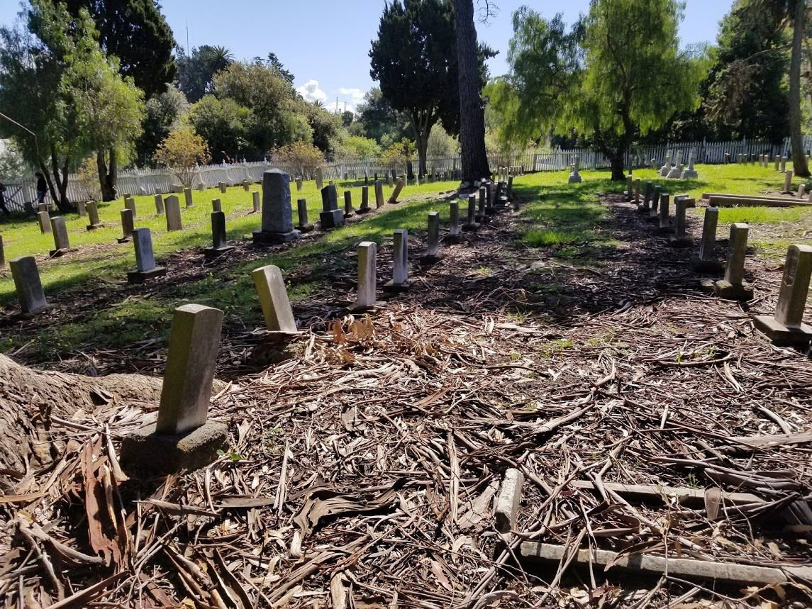 Mare Island Cemetery, rows of headstones