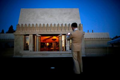 Hollyhock House, one of American architect Frank Lloyd Wright's masterpieces and his first project in Los Angeles, in February 2015. Commissioned by oil heiress Aline Barnsdall in 1919, Hollyhock House is part of what Barnsdall imagined as a cultural arts center for the performing arts.