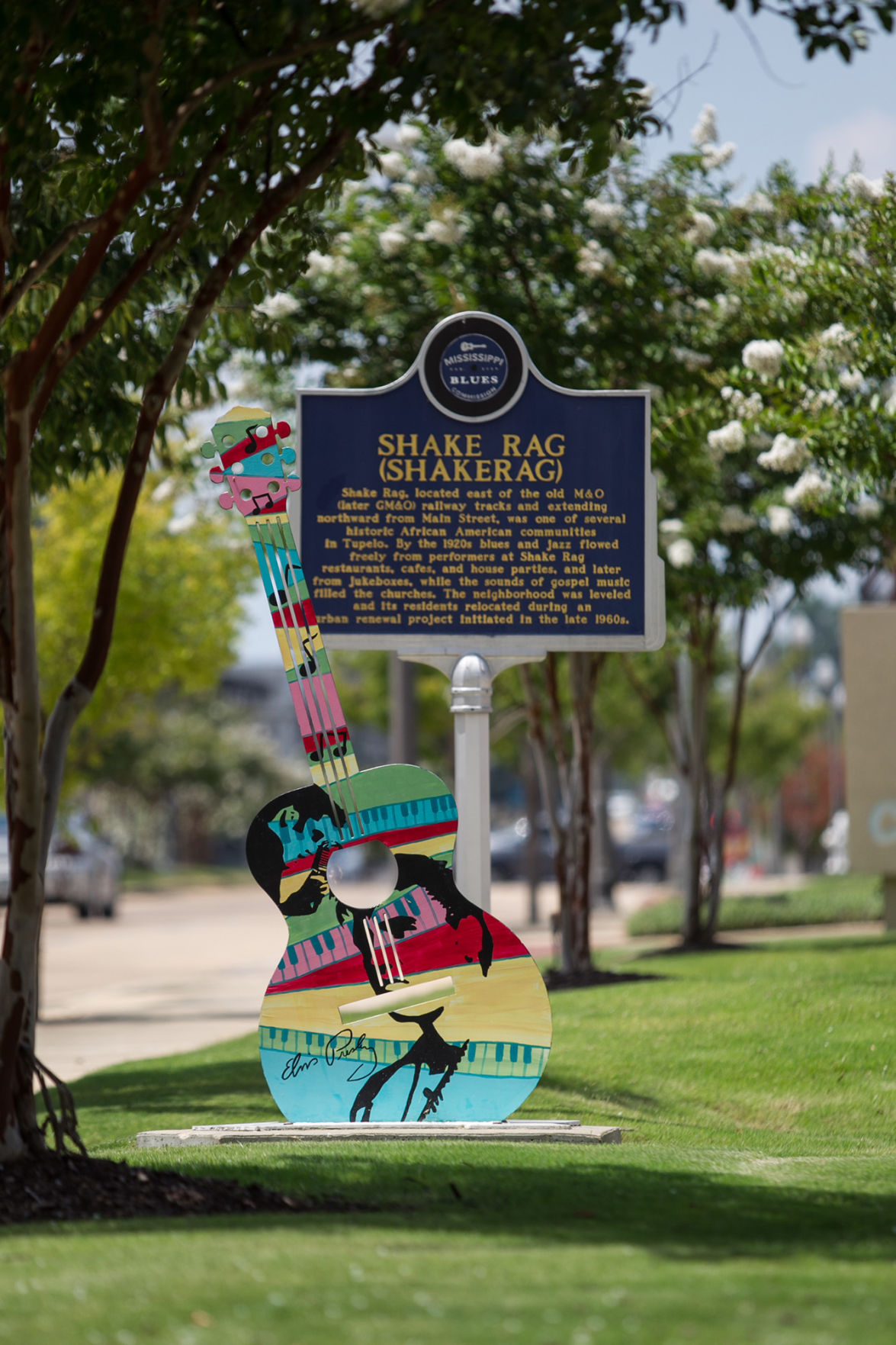 The Tupelo Guitar Trail has 27 six-foot tall fabricated steel guitars painted by area school children.