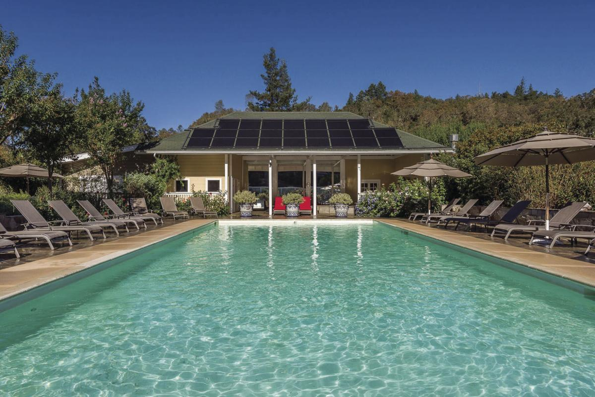The clothing-optional pool area at Meadowlark Country House near Calistoga