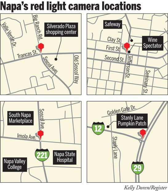 Napa's red-light camera locations map