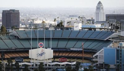 Dodger Stadium is viewed on what was supposed to be Major League Baseball's opening day, now postponed due to the coronavirus, on March 26, 2020 in Los Angeles, Calif.