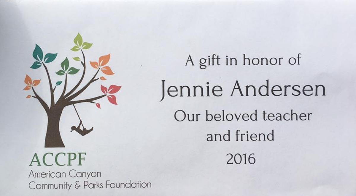 Jennie Andersen plaque