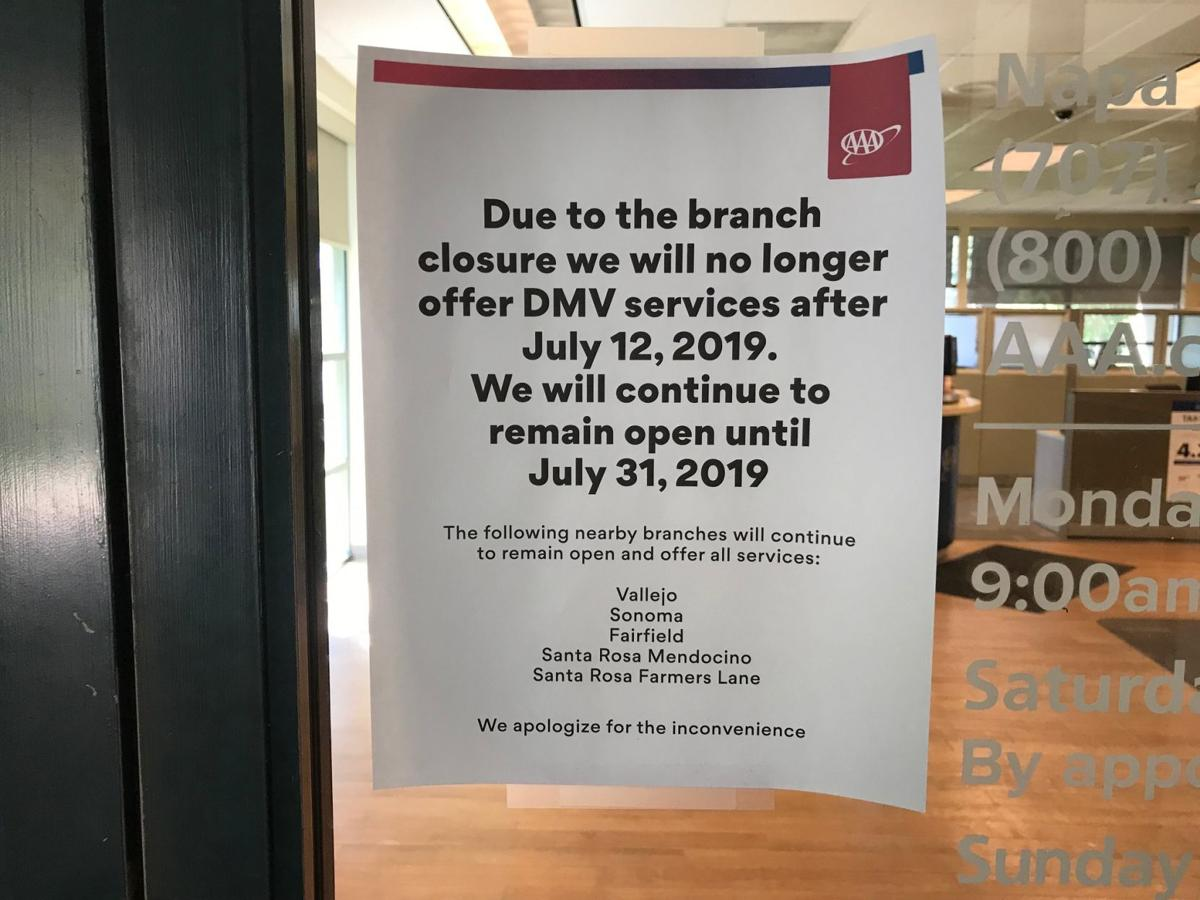 A sign at the Napa AAA office