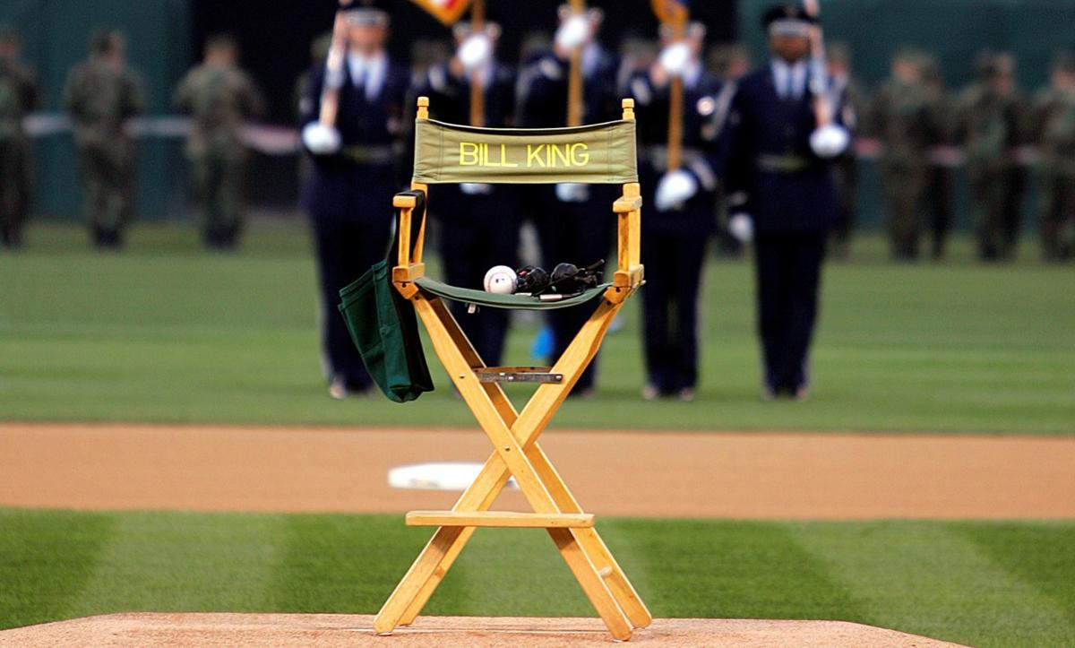 An announcer's chair labeled with Bill King's name is seen with a baseball on the pitcher's mound prior to the Oakland Athletics' home opener with the New York Yankees Monday, April 3, 2006, in Oakland, Calif. The opening pitch silent ceremony was in tribute to Bill King, longtime A's announcer who died in 2005. (AP Photo/Ben Margot)