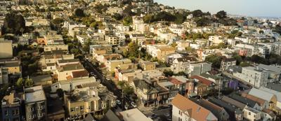 Panoramic top view Castro District under summer foggy in San Francisco