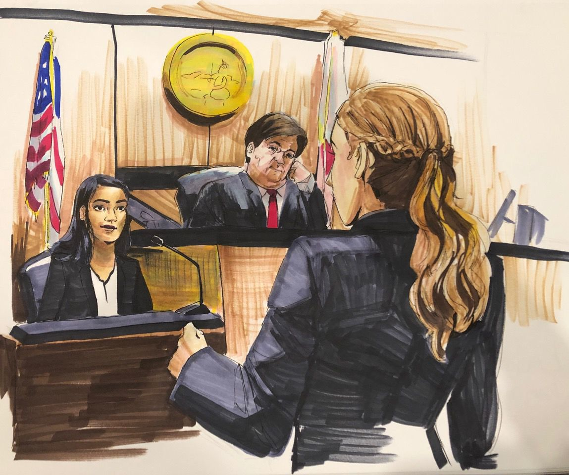 A courtroom sketch created by Lauren Yung