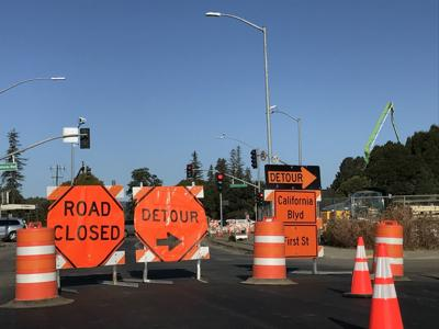 Roundabout sign closeup
