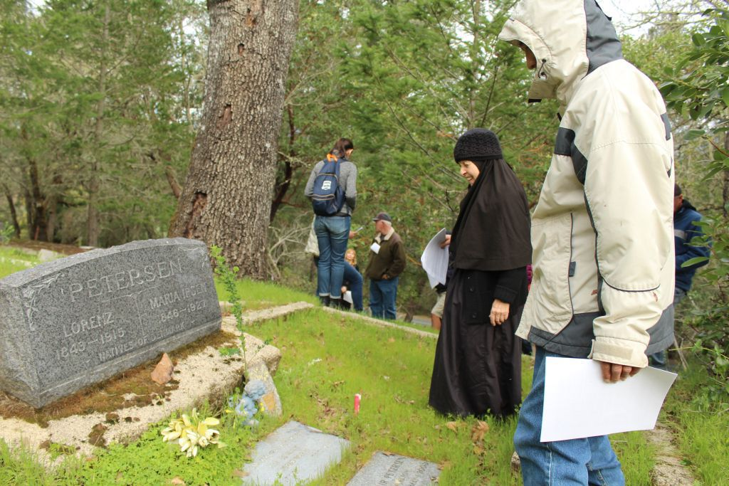 Looking at a gravesite
