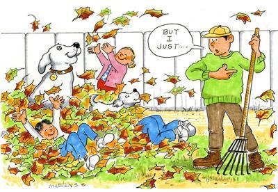 Cartoon, fall leaves