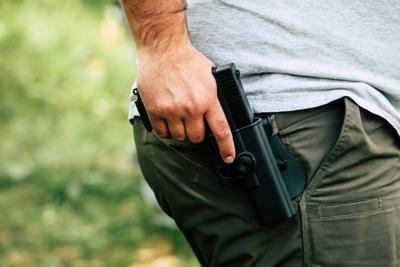 Pistol in the holster.
