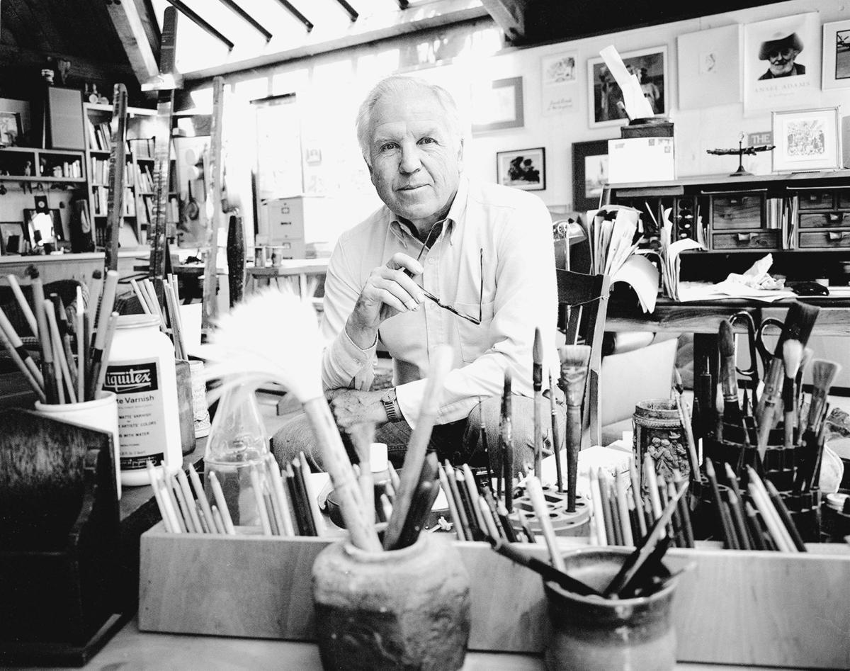 Earl Thollander in his Calistoga studio in 1986