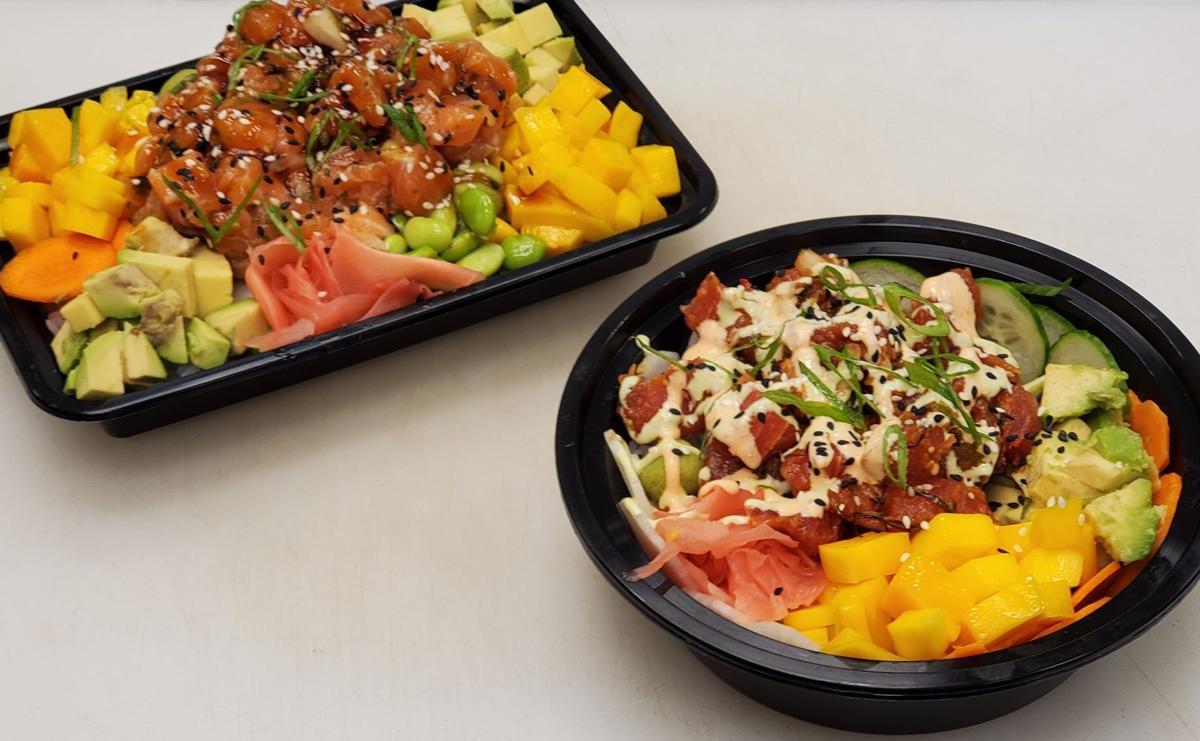 Salmon Shoyu Poke Bowl & Plate
