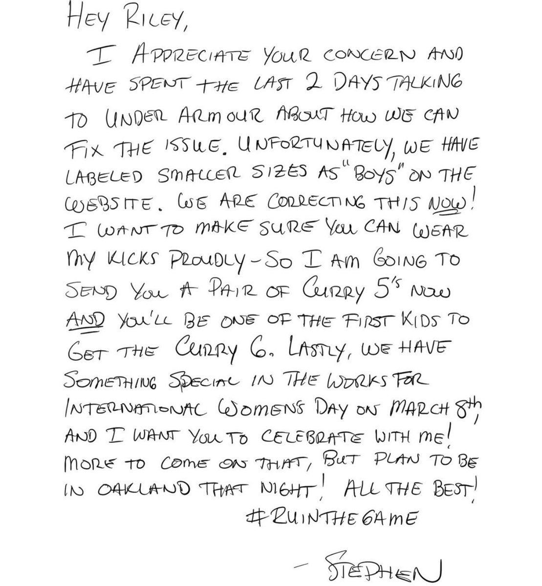 A letter to Napan Riley Morrison from Steph Curry