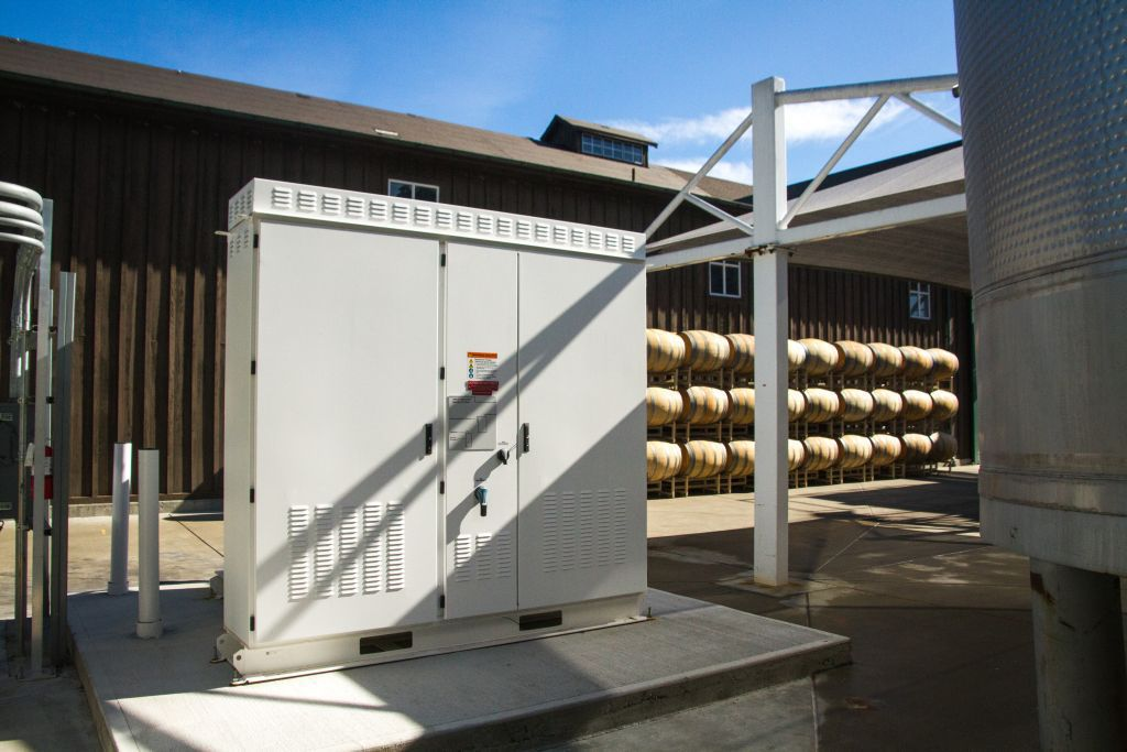 Tesla battery at a Jackson Family Winery
