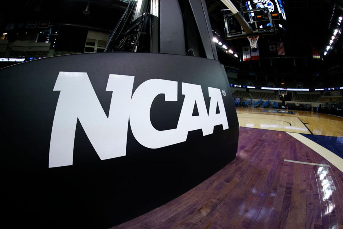 The NCAA logo is seen on the basket stanchion before the game between the Oral Roberts Golden Eagles and the Florida Gators in the second round game of the 2021 NCAA Men's Basketball Tournament at Indiana Farmers Coliseum on March 21, 2021 in Indianapolis, Indiana.