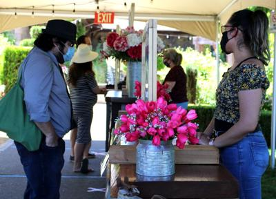 V. Sattui Winery's concierge station for greeting guests and outdoor tastings.