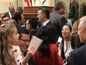 Gov.-elect Gavin Newsom on Assembly floor, Dec. 3, 2018.