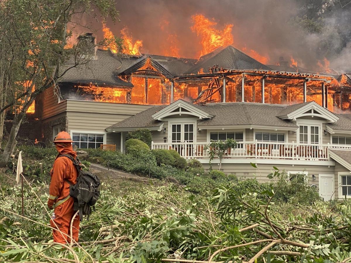 Meadowood Resort in flames