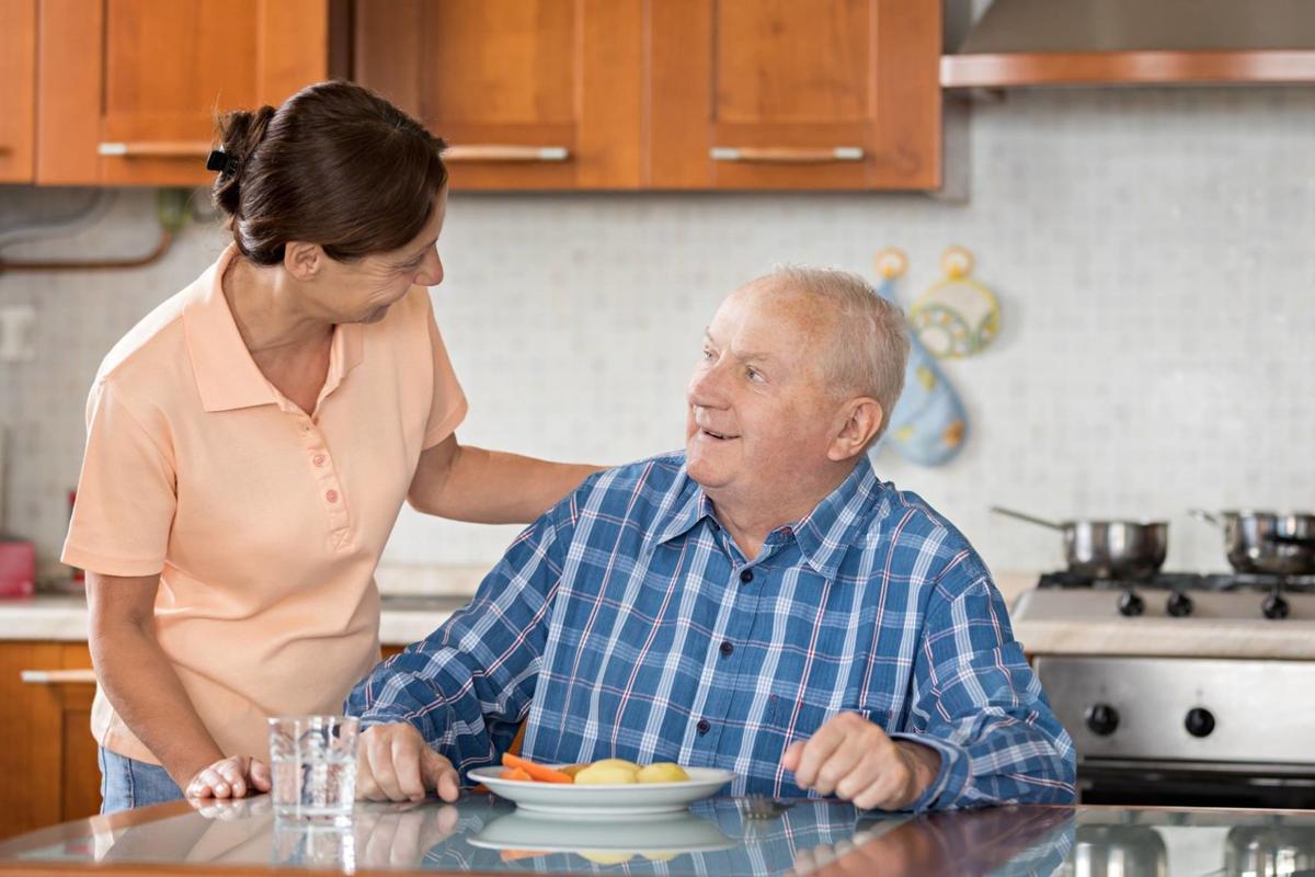 Elderly couple in the kitchen