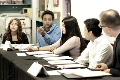Redwood Middle School Social Studies Student Tesfahum McAvoy Second From Left Makes A Point During Mock Trial Of First Amendment Case At The On