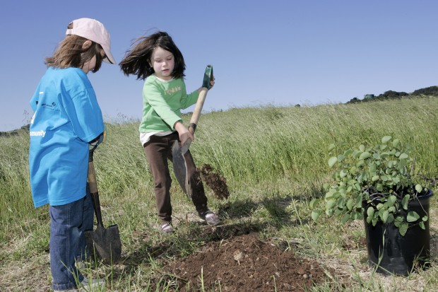 Girl Scouts plant trees at Alston Park