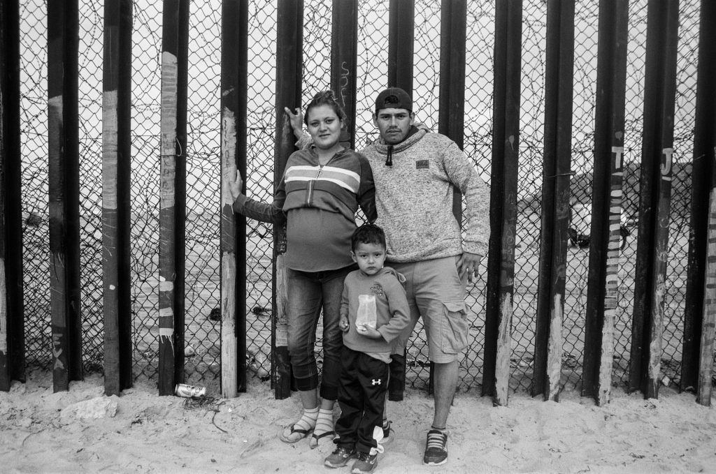 Migrant family at the border