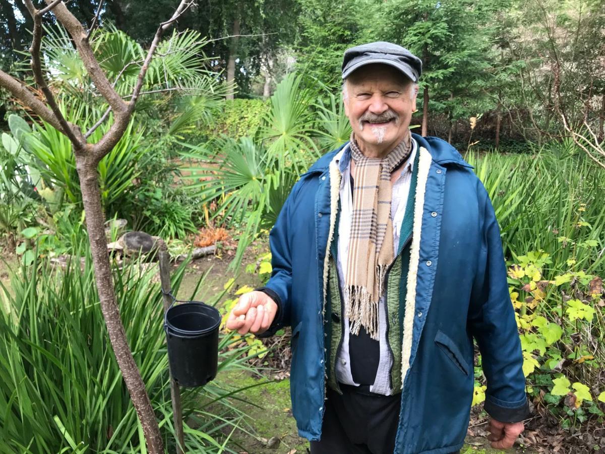 Bert Wooning in garden