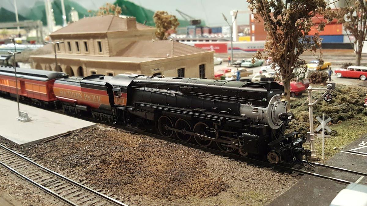 Train pulling out of the passenger station on the layout of the Napa Valley Model Railroad Historical Society