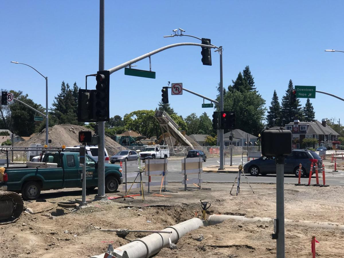 Construction progress of Napa's First Street roundabout.