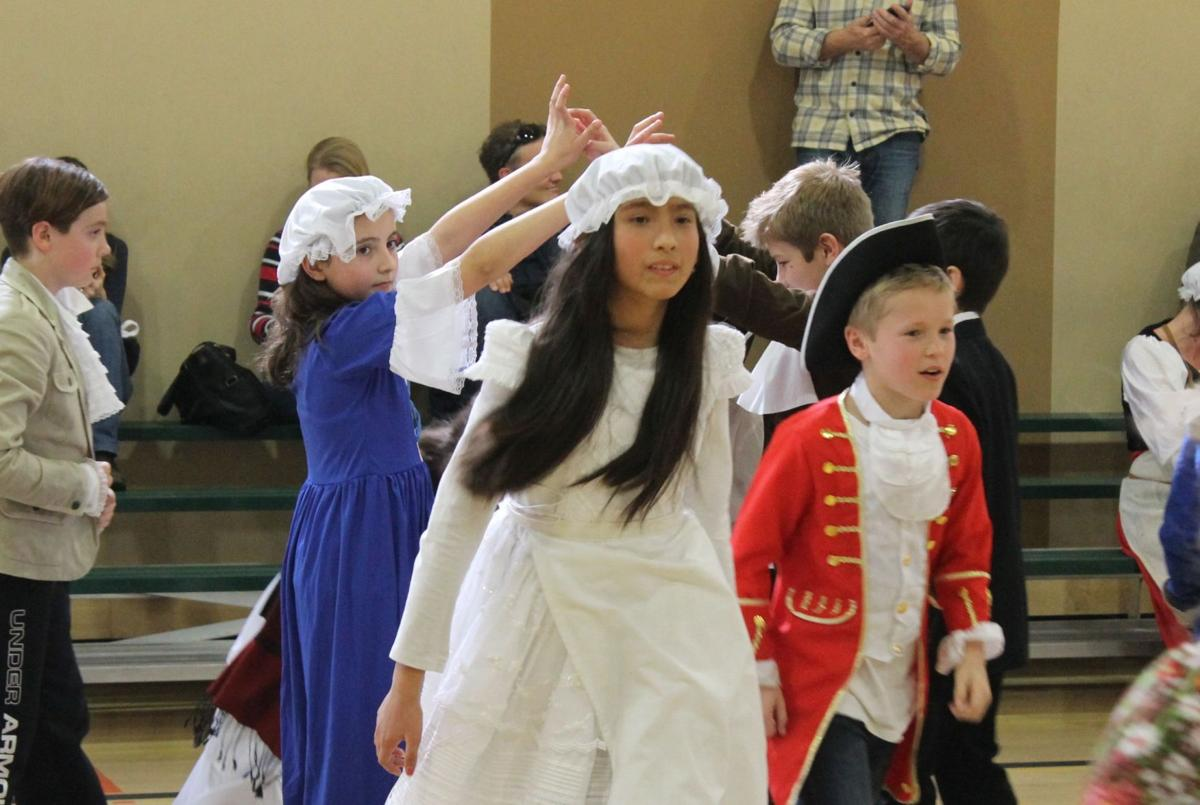 Dancing the Virginia Reel at Colonial Days