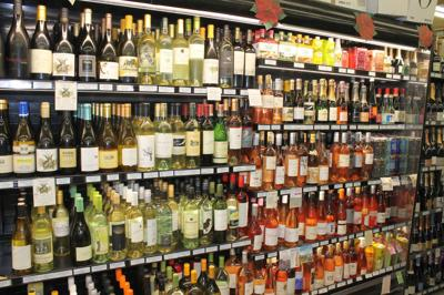 Locally produced wines on display Sunshine Markets