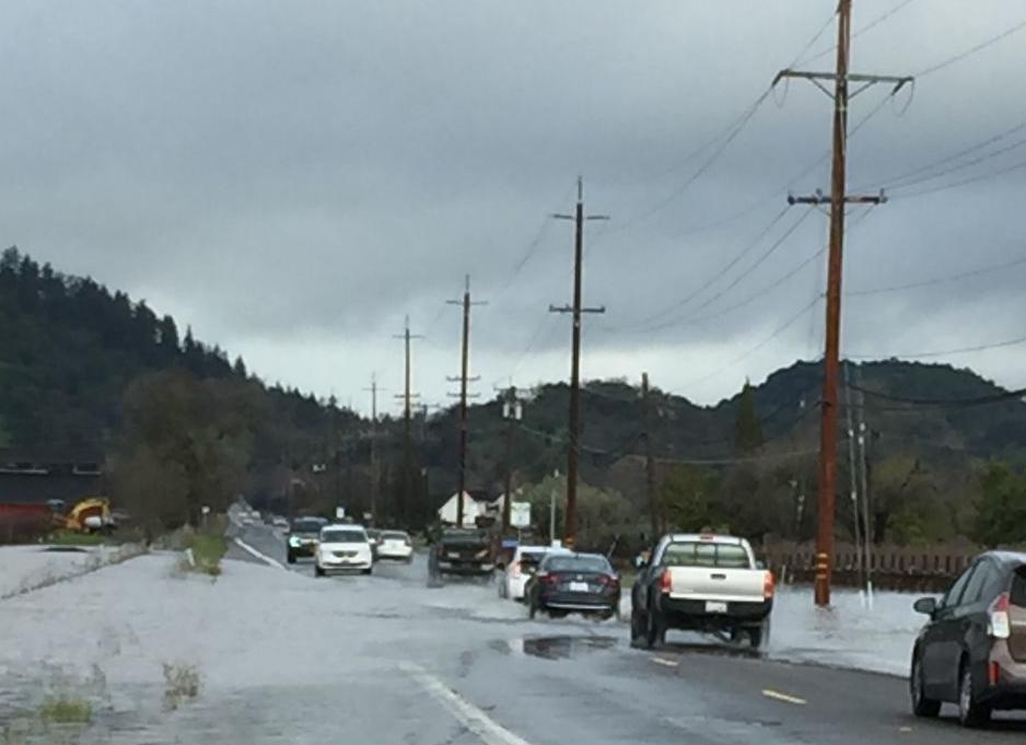 Silverado Trail flooded at Oak Knoll 2/27