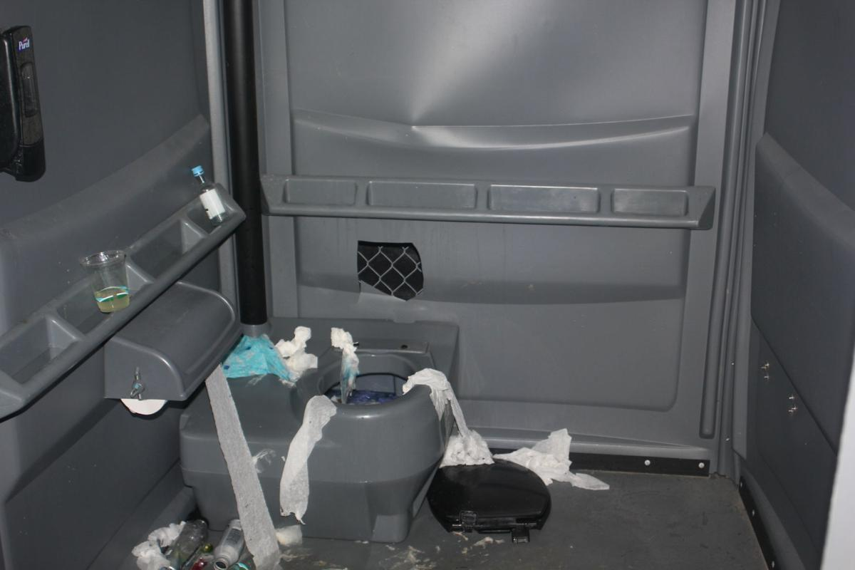 Inside the portable toilet where the attack took place