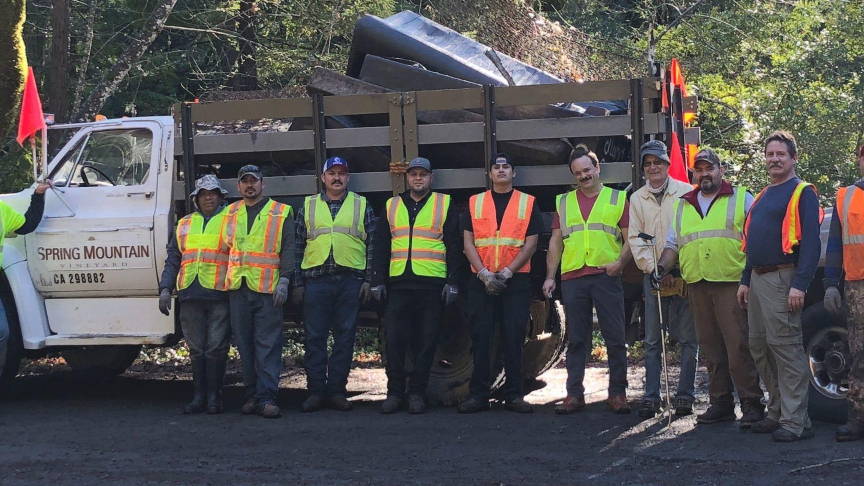 Volunteers clean up trash on Spring Mountain Road