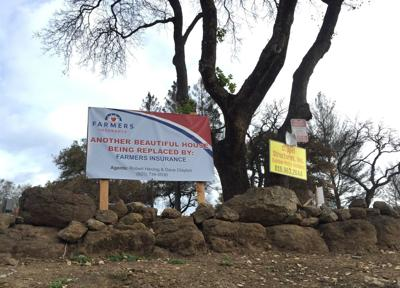 A rebuilding sign seen at a home site at Silverado Resort
