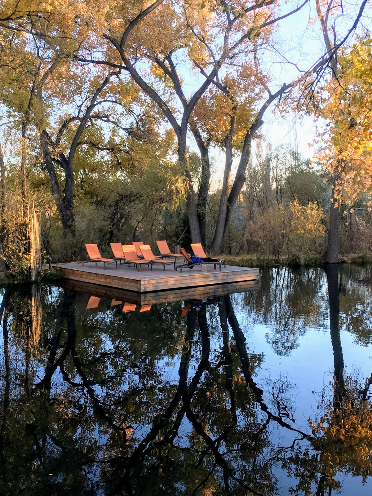Time for quiet reading on lounge chairs near hot springs.
