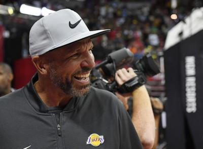 Assistant head coach Jason Kidd of the Los Angeles Lakers attends a game between the Lakers and the LA Clippers during the 2019 NBA Summer League at the Thomas & Mack Center on July 6, 2019 in Las Vegas, NV.