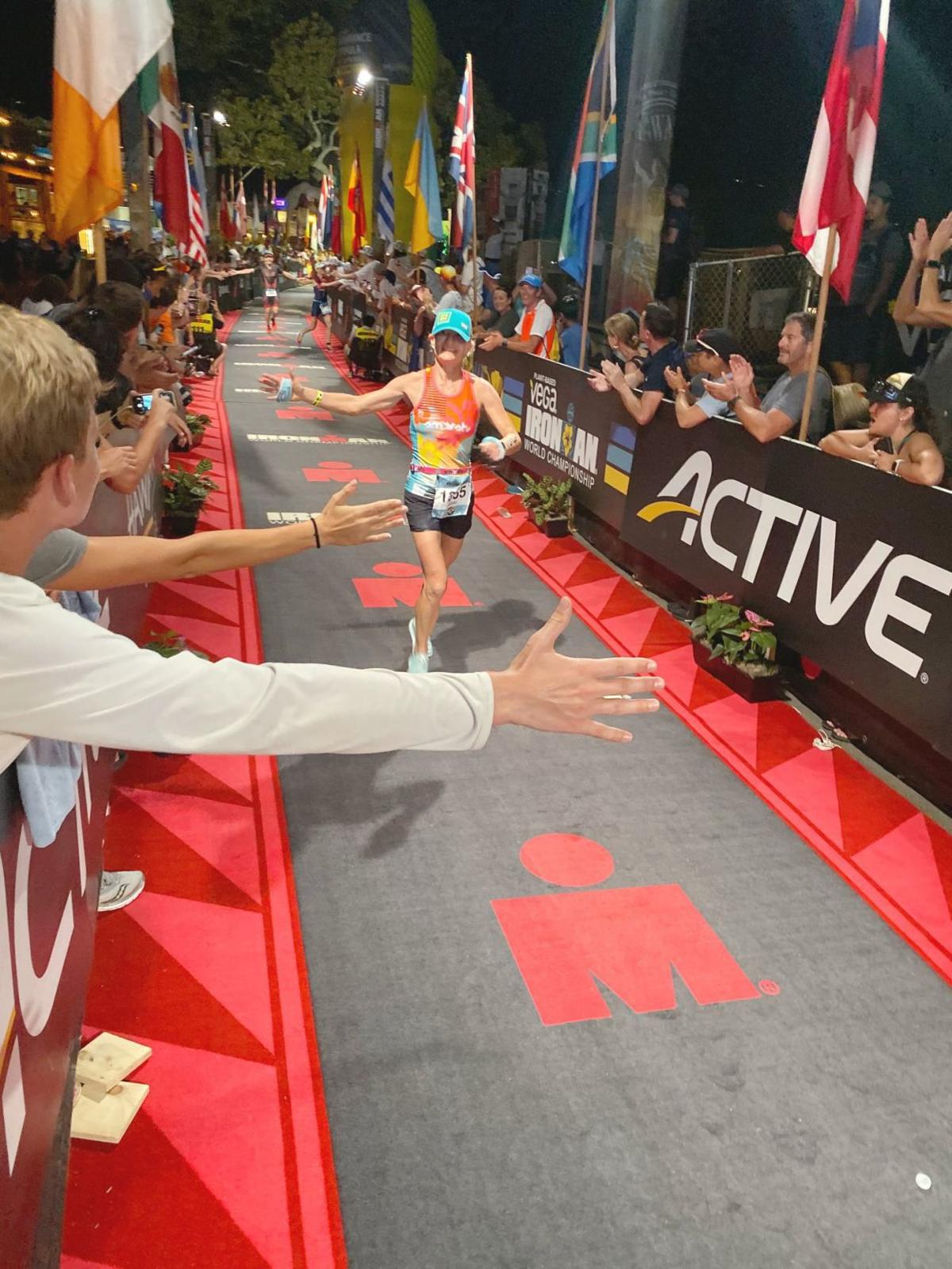 Sarah Gott at Ironman World Championship finish line