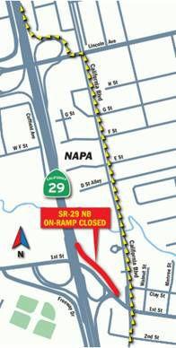 Highway 29 on-ramp closure map